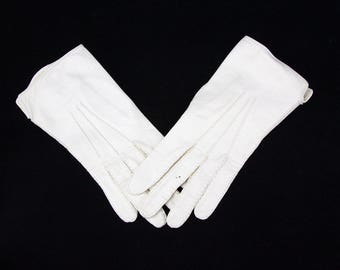 Vintage White Leather Gloves, Size S