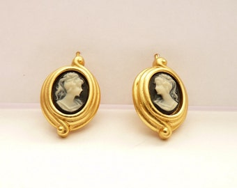 Vintage Carolee Pierced Cameo Earrings in Satin Gold Setting 1 Inch Dangling Earrings