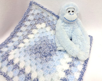 Crochet Granny Square Doll Blanket with Monkey, Doll Afghan, Baby Snuggie and Toy, Dollhouse Quilt, Table Doily, Shades of Blue Baby Blanket