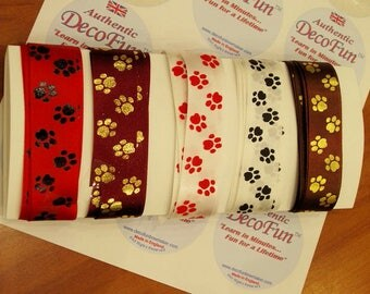 PAWS Printed RIBBON Assortment (Dog or Cat PET Paws) 30 feet (10 yds)