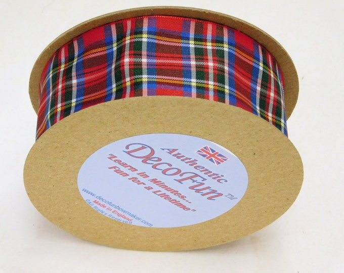 Royal Stewart Plaid Ribbon 1-1/2 inch Woven Edge Tartan, genuine Scottish Made in England, Authentic for hair, craft, wedding, Christmas