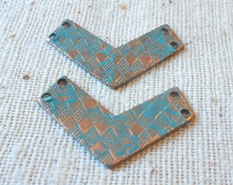 Hand Faux Bright Verdigris Patina Patterned Chevron Connector (4) Geometry, Deco