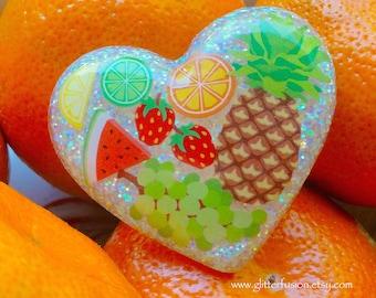 Iridescent I Love Fruit Resin Heart Ring, Fruitarian Tropical Fruit Statement Ring, Kawaii Fruit Salad Ring, Vegan Unique GlitterFusion Ring