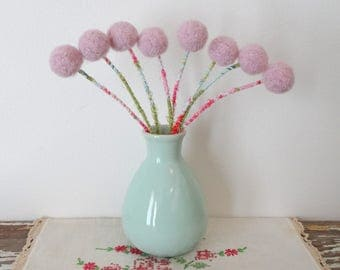 Blush Pink Pom pom Flowers WITH Vase.  Pastel Felt Flowers.  Round Flowers in Mint Green Vase.  Alpaca Wool pompom.  Pink, Mint Centerpiece