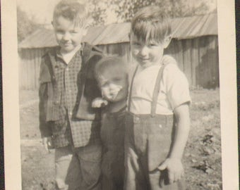 S18102 Vintage Photo of Three Cute Little Boys Posing for the Camera