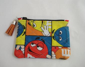 Quilted COIN Purse Pouch / Tiny Zippered Pouch / Tiny M & M Cosmetic Purse / Purse Organizer / M and M Pouch