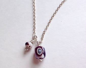 Lampworked Glass Bead Necklace on Sterling Silver