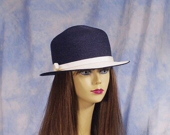 20% OFF Vintage 60s/70s Designer Frank Olive Straw Derby Hat, Sz 22 Med Large