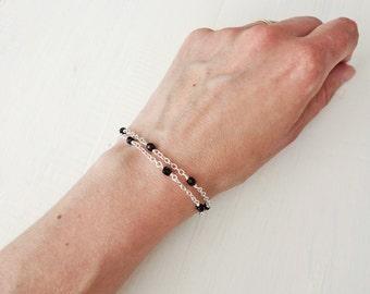 Layered bracelet double chain bracelet black bead bracelet minimalist bracelet for women