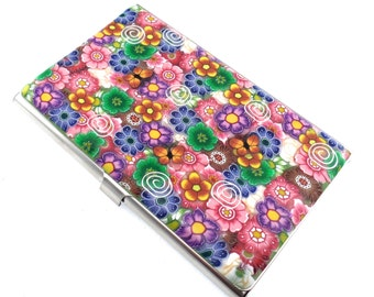 Colorful Polymer Clay Business Card  Case, Flowers and Butterflies