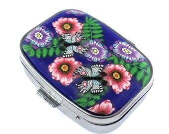2 Compartment Polymer Clay Covered Pill Box, Pill Case, Flowers and Butterflies