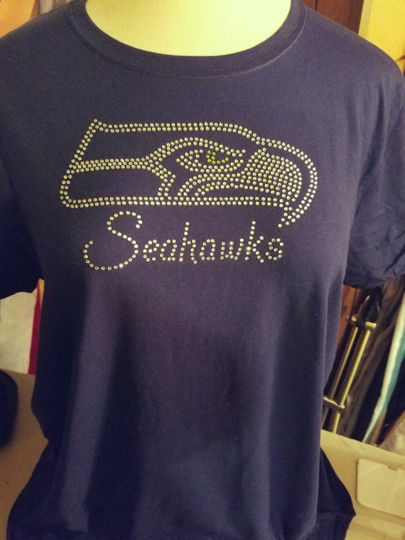 Seahawk Rhinestone Ladies Tshirt Custom Designed To By