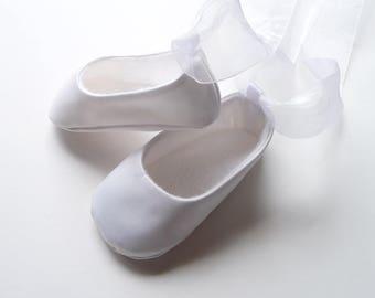 Baby Girl Ballet Shoes . White Satin Ballet Slippers . Baby Ballerina . Christening . Baptism . Dedication . Infant Flats . Crib Shoes