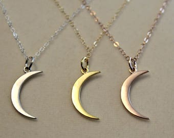 Gold Crescent Moon Necklace, Mandy Moore Moon, This Is Us Moon Necklace, 14 15 16 17 18 inch, 14K Gold Fill, Rose Gold, or Sterling Silver