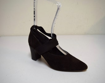 LEONE Italy Brown Suede Pumps Heels w Cross Instep Ankle Straps Size 37.5-7.5 M