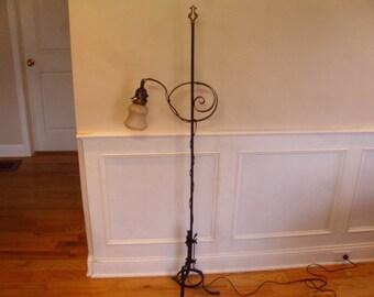 Vintage 1930's/1940's  Black Metal Sliding Arm Floor Lamp w/Glass Shade