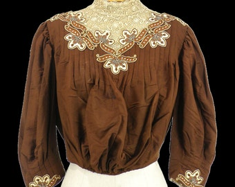 Edwardian Silk and Lace Bodice with Ornamental Appliqués, Ladies Antique Bodice for Study
