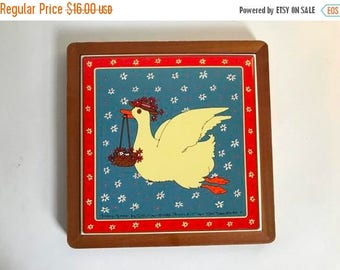 Vintage c. 1982 Flying Goose Ceramic Tile Trivet and Wall Hanging - 1980's Kitchen Decor
