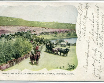 Stage Coach Party Boulevard Drive Duluth Minnesota 1906 postcard