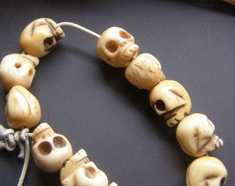 Skull Beads, Skeleton Bead, Cream Color Beads, Skull Findings, Jewelry Supplies, Pirate Beads