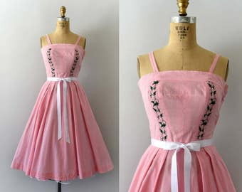 Vintage 1950s Dress - 50s Embroidered Pink Gingham Sundress