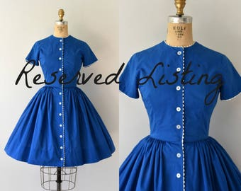 RESERVED LISTING -- 1950s Vintage Dress - 50s Blue Bobbie Brooks Dress