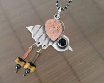 Bee necklace, BEE LOVE, sterling, copper, black onyx, hematite, watch parts