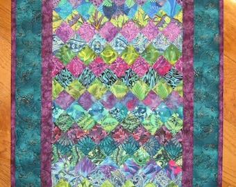 Art Quilt, Purple Green Blue Fabric Wall Hanging Quilted  Abstract Contemporary Wall Art  Watercolor Handmade Free Shipping