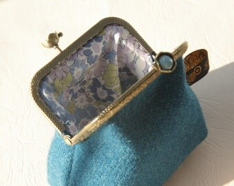 RESERVED!  Bronze metal frame coin purse/ pale blue pearls / Deep blue Harris tweed/ Liberty tana lawn