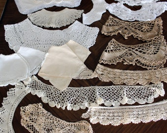 15 Lace Crochet Yokes, Bodices or Collars and  Crocheted Trim, Handmade Crochet Lot 13726