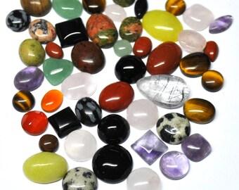 Natural Gemstone Cabochons Mix, Semi Precious Jewelry Supply Wholesale  - 50 pcs Parcel - 6.0-16.5 mm - 124.0 ct - 160811-03