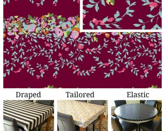 Laminated cotton aka oilcloth tablecloth custom size and fit choose elastic, tailored or draped Amy Butler Victoriana Port
