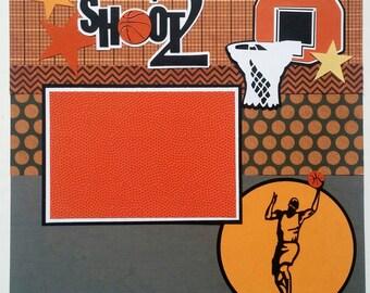 Basketball scrapbook page - Premade scrapbook layout - 12x12 premade scrapbook layout - 12x12 basketball scrapbook layout - Scrapbook sports