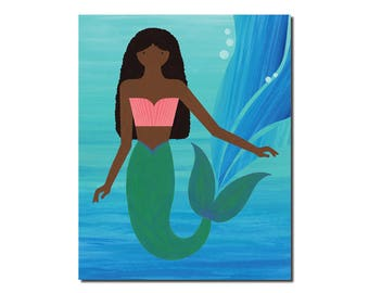 Beautiful Dark Skin African American Mermaid Print - Children's Art Print - Art for Kids - Set of Prints 4x6, 5x7, 8x10, 11x14