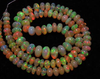 Welo Ethiopian Opal - Most Amazing Stunning High Grade Quality - Smooth Polished - Rondelle Beads Huge size - 6 - 9 mm - 17 inches Long
