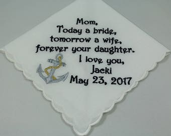 Mother of the Bride - Embroidered Handkerchief - Wedding Gift - Simply Sweet Hankies