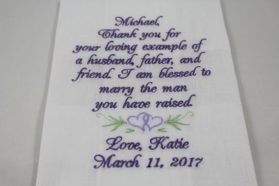 Personalized - Father of the Groom - Embroidered - Wedding Handkerchief - Wedding Gift - Simply Sweet Hankies