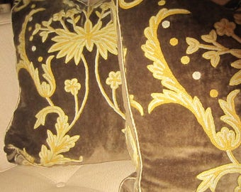 "Colfax and Fowler Brown Velvet Embroidered Mustard  Cream 22x22"" Pillow Cover Boxed Silk Divine"