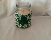 Shamrocks on White Candle Cozy Quilted Cotton Candle Wrap Jar Candle Surround