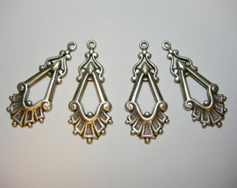 Silver plated Victorian style Earring Drops Findings Stampings - 4