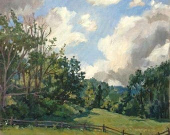 Berkshires Hillside, from the Clark Museum. Large Oil Painting Landscape on Canvas, 18x24 Signed Original American Impressionist Fine Art