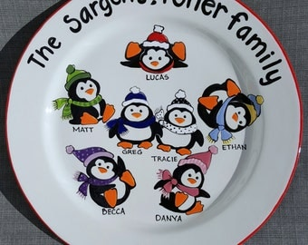 Custom Christmas Platter,  Personalized Platter,  Gift for Parents, Christmas Gift for Grandparents, Christmas Penguin Family Plate