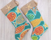 On Sale Coastal Fish Print Holiday Stockings with Starfish for your Beach House