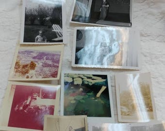 Collection of 12 small old photos mostly black and white