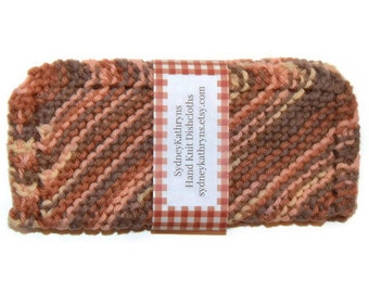 Hand Knit Dish Cloths, Knitted Dishcloths, Knitted Dish Rags, Knit Washcloth, Rust and Brown Ombre