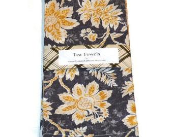 Tea Towels, Grey and YellowTowels, Gray Tea Towels, Set of 2, Decorative Kitchen Towels