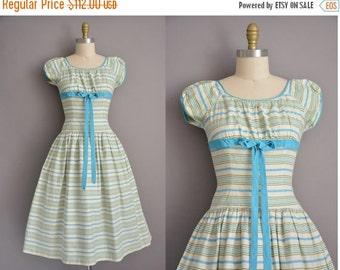 25% off SHOP SALE... 50s cotton stripe print vintage full skirt dress / vintage 1950s dress