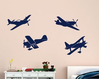 CLEARANCE 75% OFF Airplane Vinyl Wall Decals - Airplane Decal - Nursery Vinyl Wall Decal - Wall Sticker - Child's Room Wall Decal - Planes