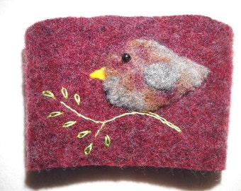 Felted Wool Coffee cozy Burgundy Bird Cup Sleeve