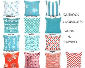 OUTDOOR  Pillow Covers, Aqua Coral Nautical Beach Decor, Nautical Cushions Ocean Blue Calypso White Patio Sun Room All Sizes  Mix & Match